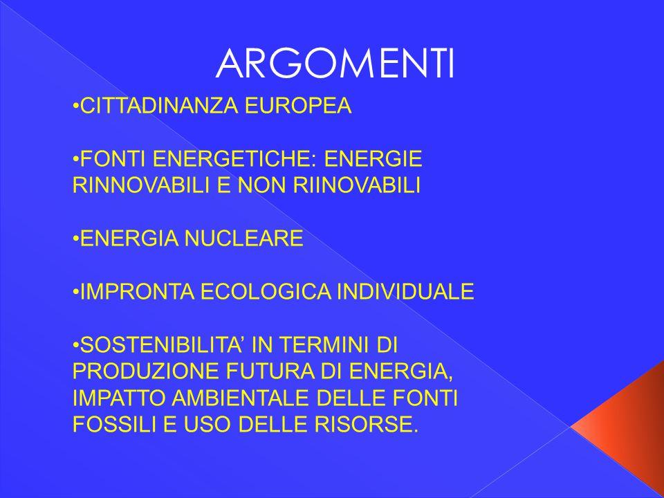ARGOMENTI CITTADINANZA EUROPEA FONTI ENERGETICHE: ENERGIE RINNOVABILI E NON RIINOVABILI ENERGIA NUCLEARE IMPRONTA ECOLOGICA INDIVIDUALE SOSTENIBILITA'