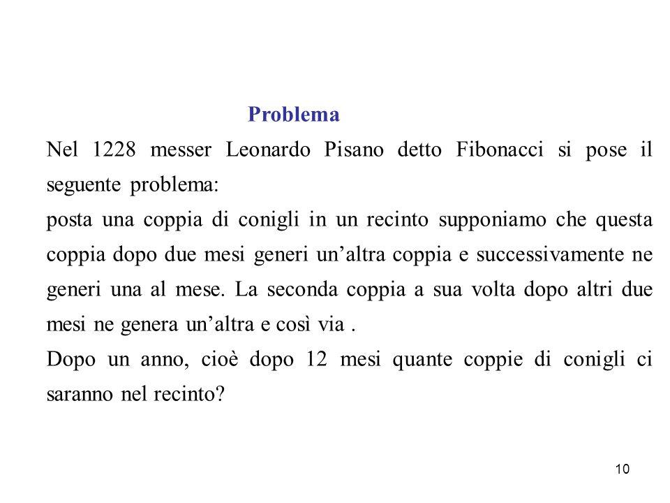 10 Problema Nel 1228 messer Leonardo Pisano detto Fibonacci si pose il seguente problema: posta una coppia di conigli in un recinto supponiamo che que