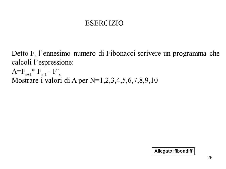 26 ESERCIZIO Detto F n l'ennesimo numero di Fibonacci scrivere un programma che calcoli l'espressione: A=F n+1 * F n-1 - F 2 n Mostrare i valori di A