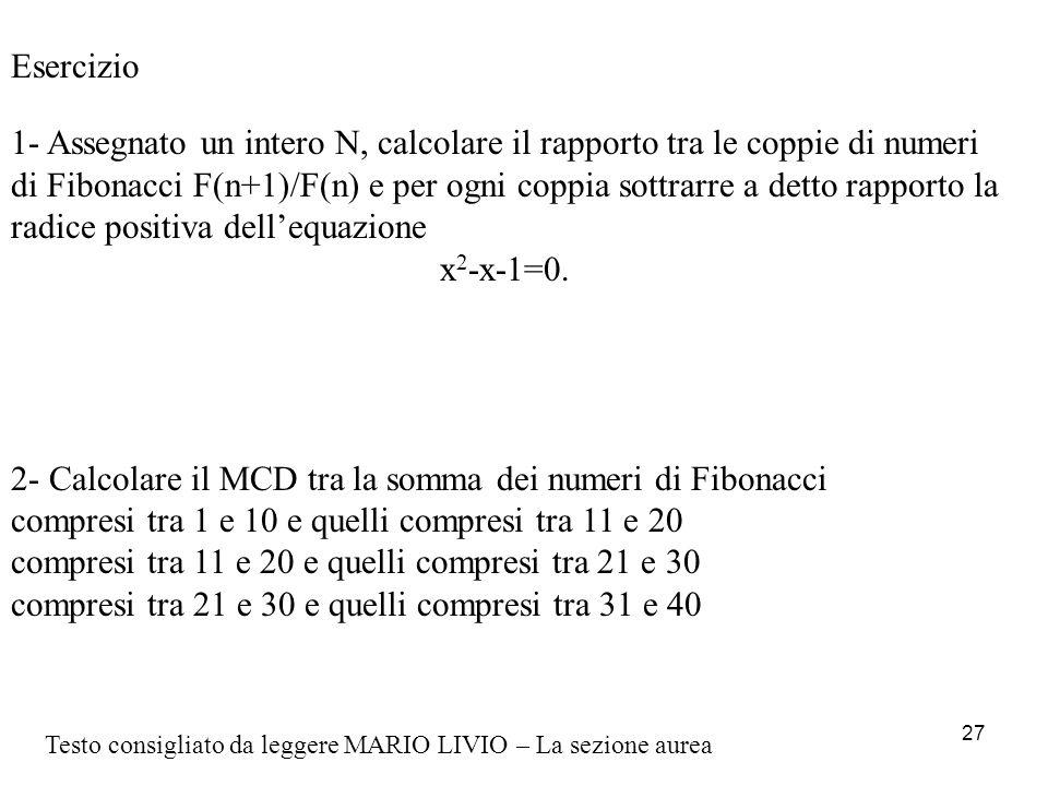 27 Esercizio 1- Assegnato un intero N, calcolare il rapporto tra le coppie di numeri di Fibonacci F(n+1)/F(n) e per ogni coppia sottrarre a detto rapp