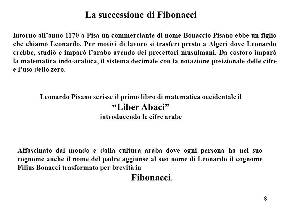 8 Intorno all'anno 1170 a Pisa un commerciante di nome Bonaccio Pisano ebbe un figlio che chiamò Leonardo. Per motivi di lavoro si trasferì presto a A