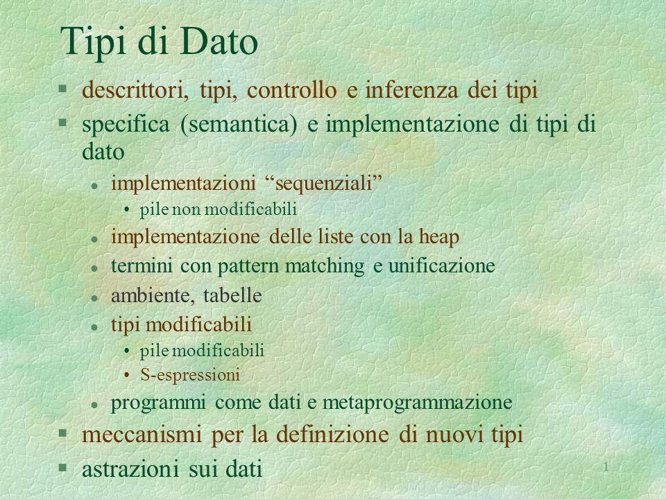 """1 Tipi di Dato §descrittori, tipi, controllo e inferenza dei tipi §specifica (semantica) e implementazione di tipi di dato l implementazioni """"sequenzi"""