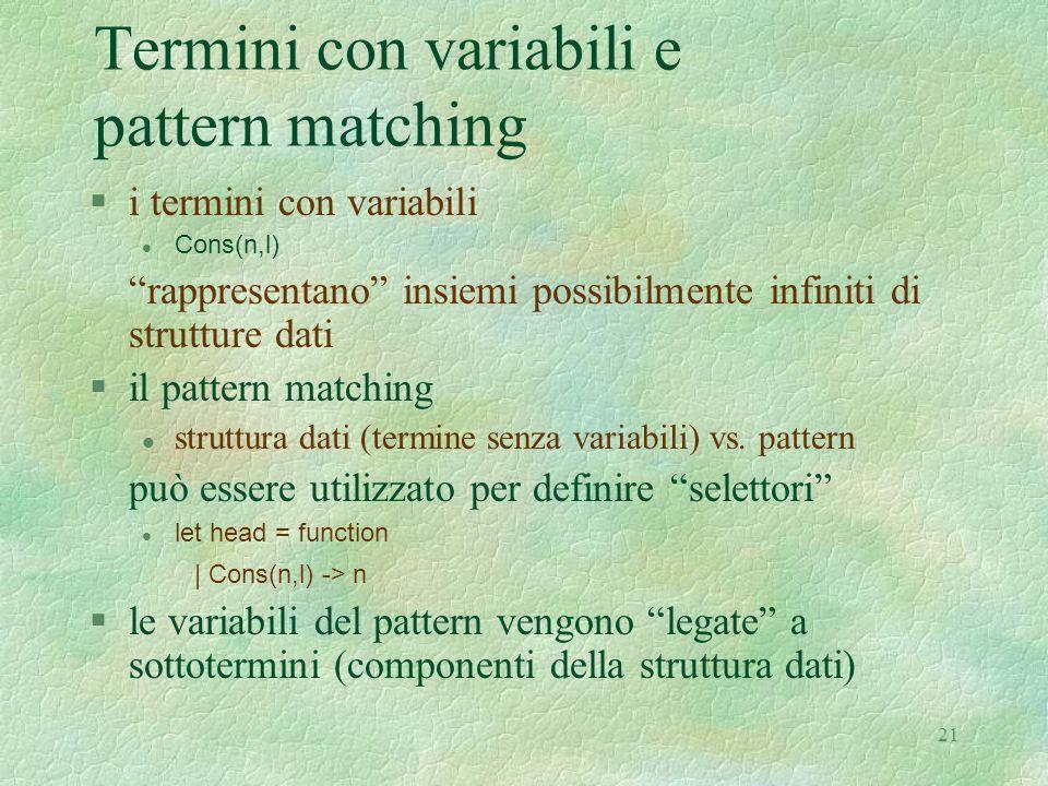 """21 Termini con variabili e pattern matching §i termini con variabili Cons(n,l) """"rappresentano"""" insiemi possibilmente infiniti di strutture dati §il pa"""