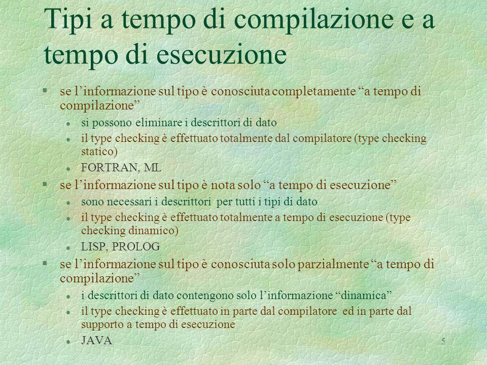 """5 Tipi a tempo di compilazione e a tempo di esecuzione §se l'informazione sul tipo è conosciuta completamente """"a tempo di compilazione"""" l si possono e"""
