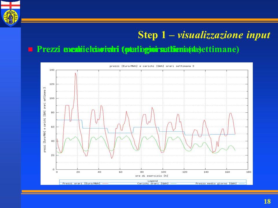 18 Step 1 – visualizzazione input n Prezzi e carichi orari (per ogni settimana) n Prezzi medi e carichi totali giornalieri (4 settimane)