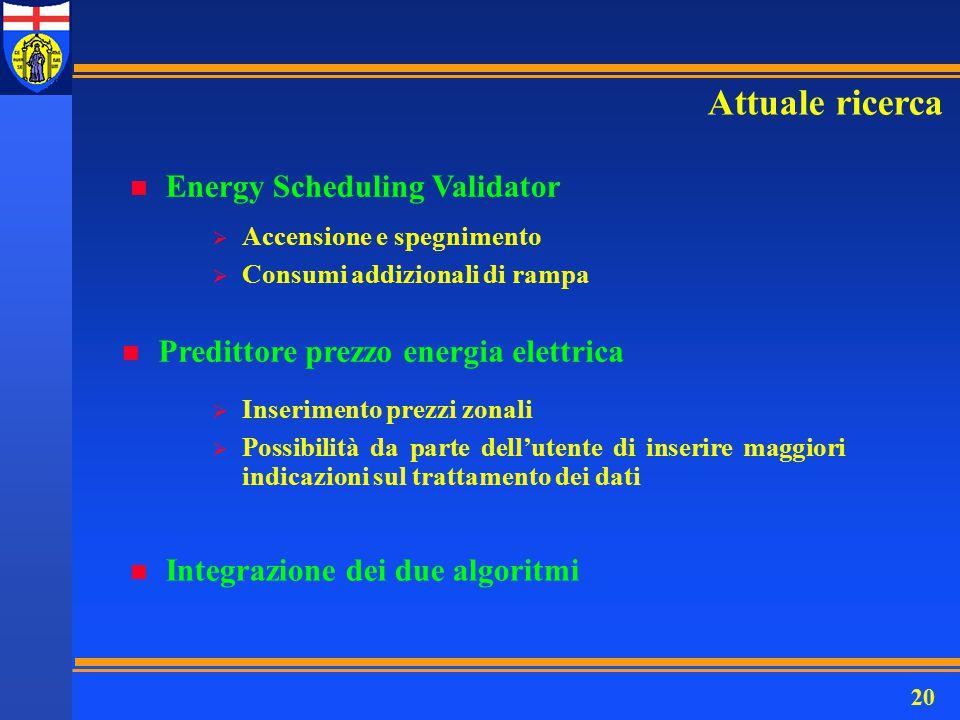 20 Attuale ricerca n Energy Scheduling Validator n Predittore prezzo energia elettrica n Integrazione dei due algoritmi  Accensione e spegnimento  C