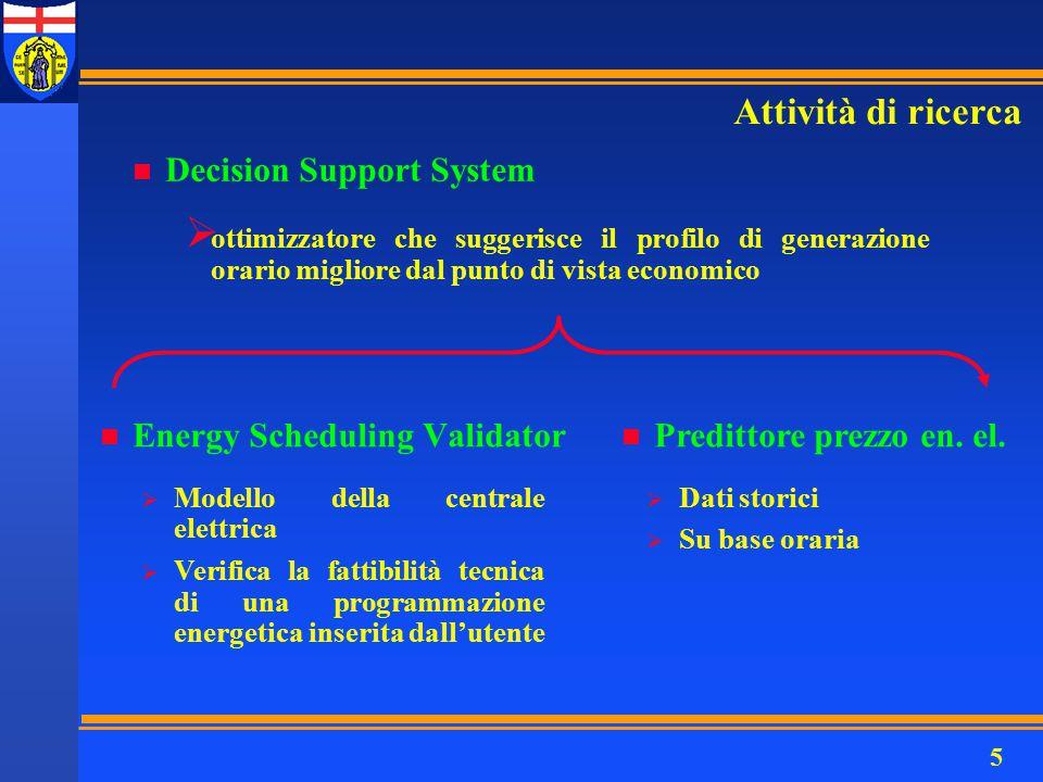 5 n Decision Support System  ottimizzatore che suggerisce il profilo di generazione orario migliore dal punto di vista economico Attività di ricerca