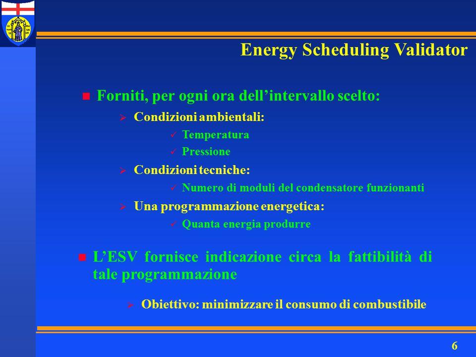 6 n Forniti, per ogni ora dell'intervallo scelto: Energy Scheduling Validator n L'ESV fornisce indicazione circa la fattibilità di tale programmazione