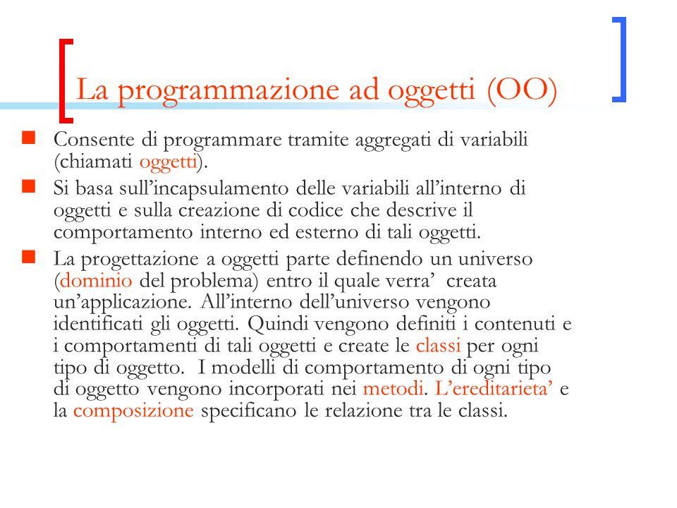 La programmazione ad oggetti (OO) Consente di programmare tramite aggregati di variabili (chiamati oggetti). Si basa sull'incapsulamento delle variabi