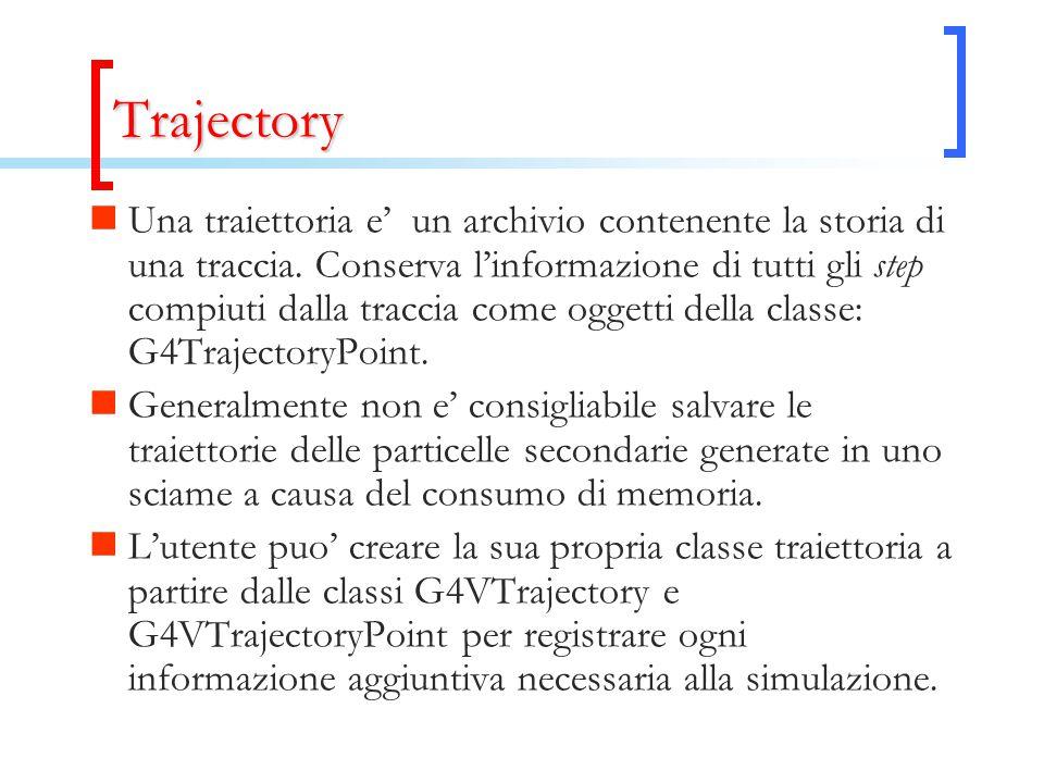 Trajectory Una traiettoria e' un archivio contenente la storia di una traccia. Conserva l'informazione di tutti gli step compiuti dalla traccia come o