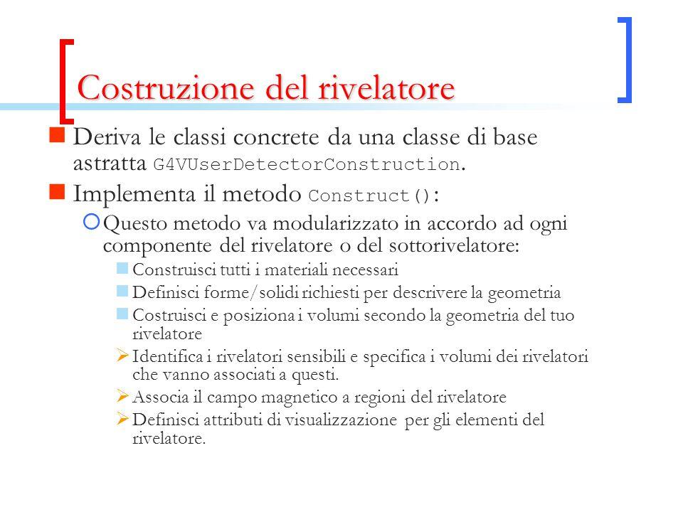Costruzione del rivelatore Deriva le classi concrete da una classe di base astratta G4VUserDetectorConstruction. Implementa il metodo Construct() : 