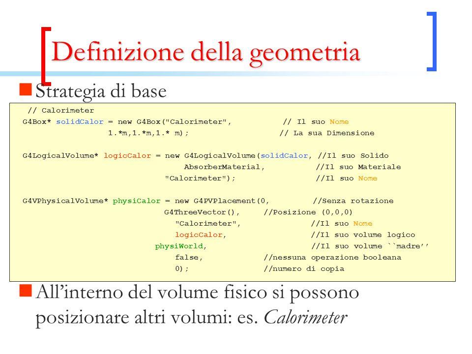 Definizione della geometria Strategia di base // Calorimeter G4Box* solidCalor = new G4Box(
