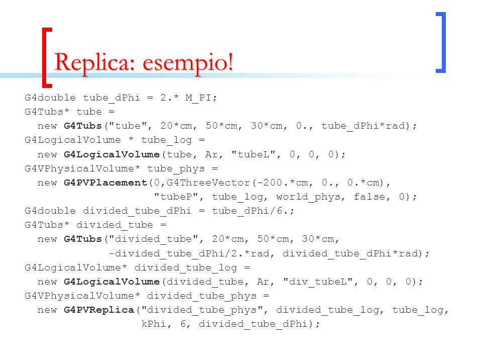 Replica: esempio! G4double tube_dPhi = 2.* M_PI; G4Tubs* tube = new G4Tubs(