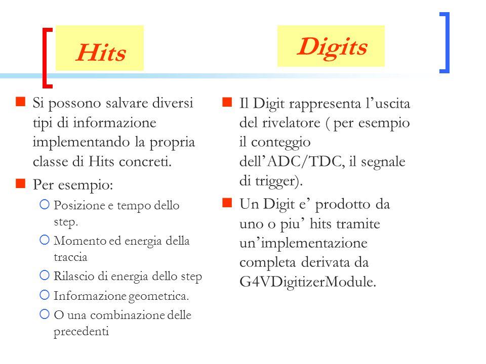 Hits Si possono salvare diversi tipi di informazione implementando la propria classe di Hits concreti. Per esempio:  Posizione e tempo dello step. 