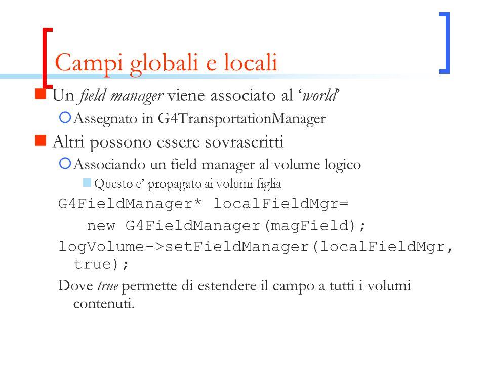 Campi globali e locali Un field manager viene associato al 'world'  Assegnato in G4TransportationManager Altri possono essere sovrascritti  Associando un field manager al volume logico Questo e' propagato ai volumi figlia G4FieldManager* localFieldMgr= new G4FieldManager(magField); logVolume->setFieldManager(localFieldMgr, true); Dove true permette di estendere il campo a tutti i volumi contenuti.