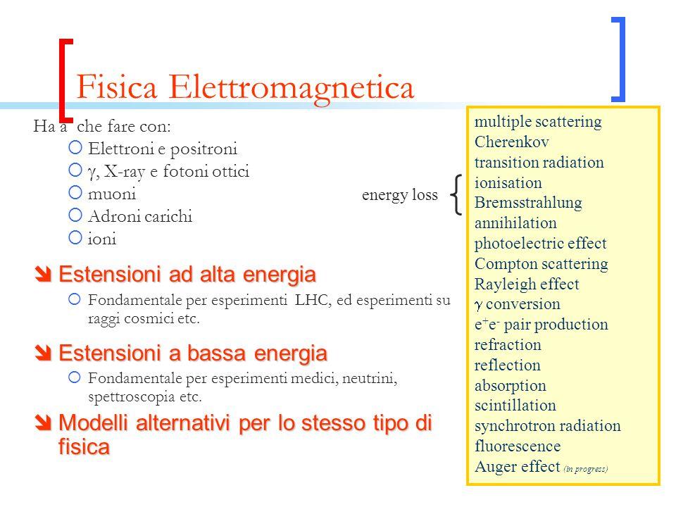 Fisica Elettromagnetica Ha a che fare con:  Elettroni e positroni  , X-ray e fotoni ottici  muoni  Adroni carichi  ioni  Estensioni ad alta energia  Fondamentale per esperimenti LHC, ed esperimenti su raggi cosmici etc.
