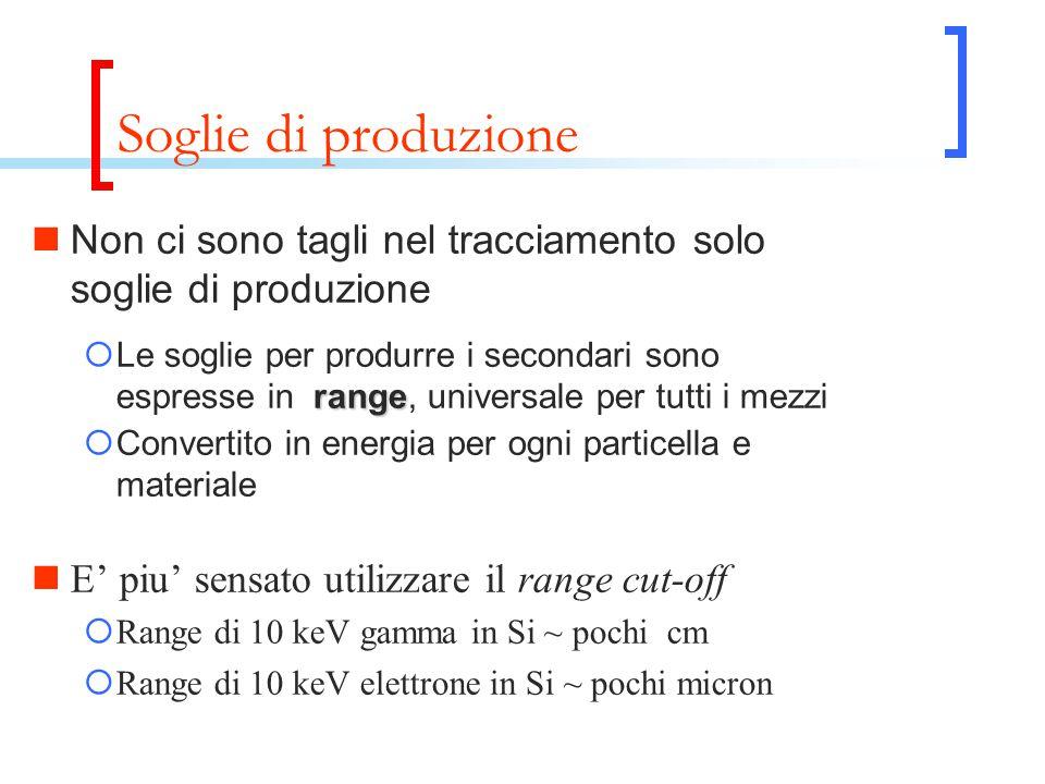 Soglie di produzione Non ci sono tagli nel tracciamento solo soglie di produzione range  Le soglie per produrre i secondari sono espresse in range, u