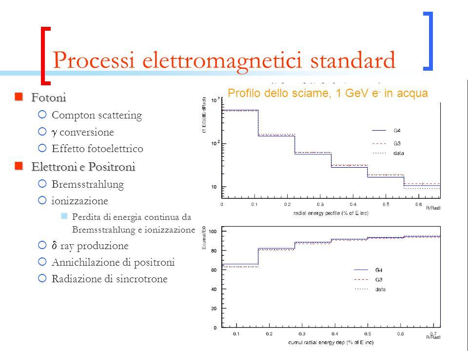 Processi elettromagnetici standard Fotoni Fotoni  Compton scattering   conversione  Effetto fotoelettrico Elettroni e Positroni Elettroni e Positr