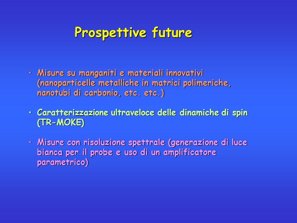 Prospettive future Misure su manganiti e materiali innovativi (nanoparticelle metalliche in matrici polimeriche, nanotubi di carbonio, etc. etc.)Misur