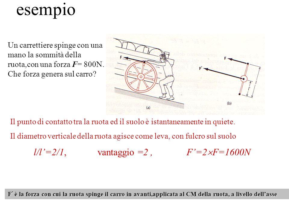 esempio Un carrettiere spinge con una mano la sommità della ruota,con una forza F= 800N. Che forza genera sul carro? F ' è la forza con cui la ruota s