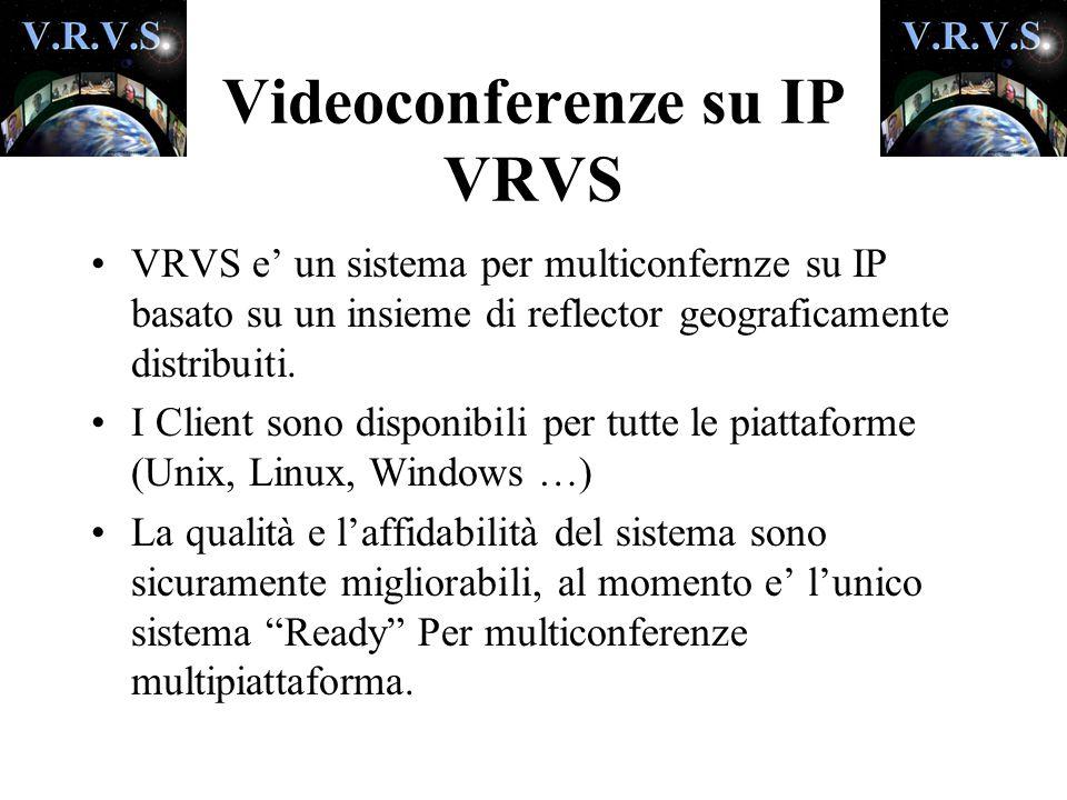 Videoconferenze su IP VRVS VRVS e' un sistema per multiconfernze su IP basato su un insieme di reflector geograficamente distribuiti.