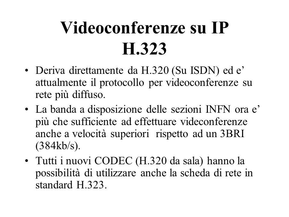 Videoconferenze su IP H.323 Deriva direttamente da H.320 (Su ISDN) ed e' attualmente il protocollo per videoconferenze su rete più diffuso.