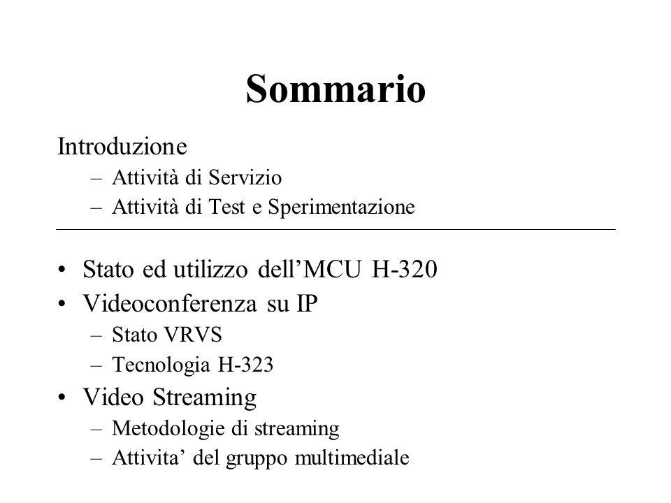 Sommario Introduzione –Attività di Servizio –Attività di Test e Sperimentazione Stato ed utilizzo dell'MCU H-320 Videoconferenza su IP –Stato VRVS –Tecnologia H-323 Video Streaming –Metodologie di streaming –Attivita' del gruppo multimediale