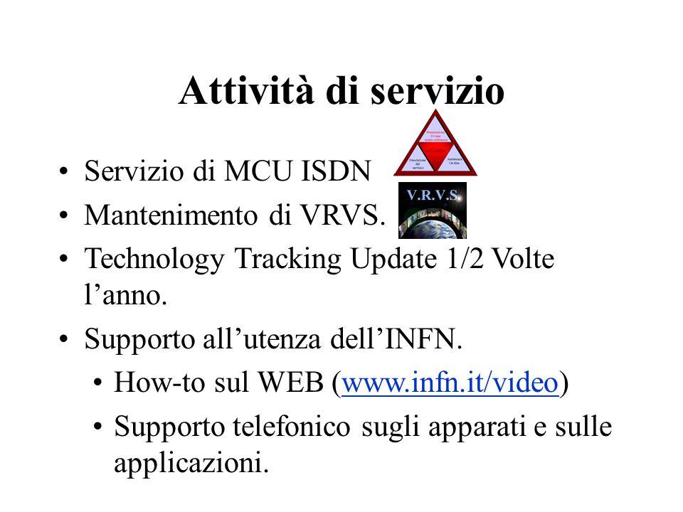 Servizio di MCU ISDN Mantenimento di VRVS. Technology Tracking Update 1/2 Volte l'anno.