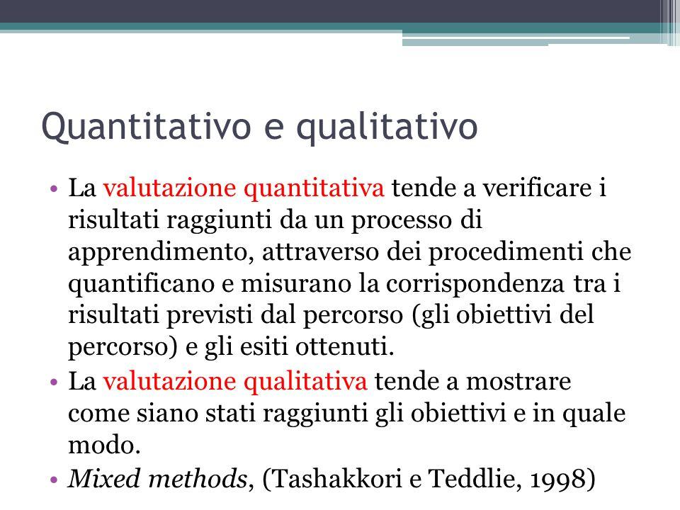 Quantitativo e qualitativo La valutazione quantitativa tende a verificare i risultati raggiunti da un processo di apprendimento, attraverso dei procedimenti che quantificano e misurano la corrispondenza tra i risultati previsti dal percorso (gli obiettivi del percorso) e gli esiti ottenuti.