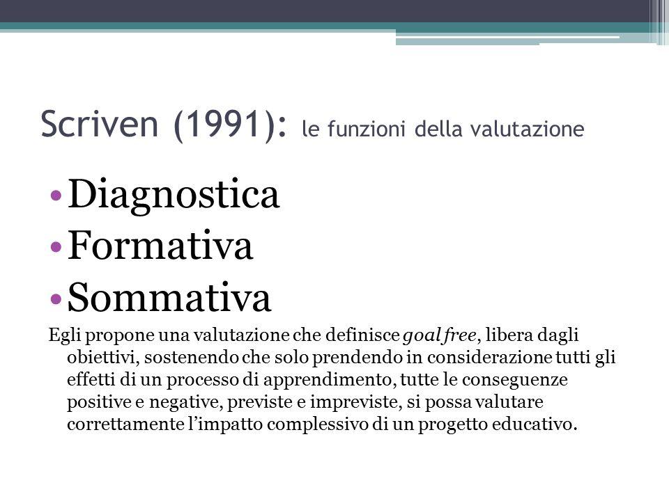 Scriven (1991): le funzioni della valutazione Diagnostica Formativa Sommativa Egli propone una valutazione che definisce goal free, libera dagli obiet