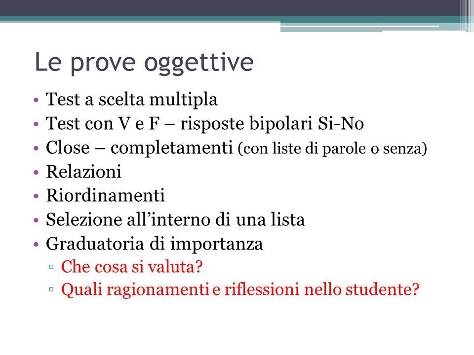 Le prove oggettive Test a scelta multipla Test con V e F – risposte bipolari Si-No Close – completamenti (con liste di parole o senza) Relazioni Riord
