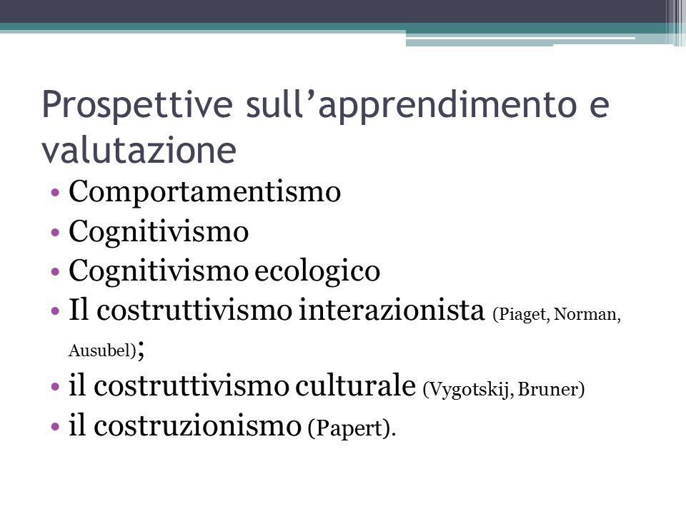 Prospettive sull'apprendimento e valutazione Comportamentismo Cognitivismo Cognitivismo ecologico Il costruttivismo interazionista (Piaget, Norman, Ausubel) ; il costruttivismo culturale (Vygotskij, Bruner) il costruzionismo (Papert).