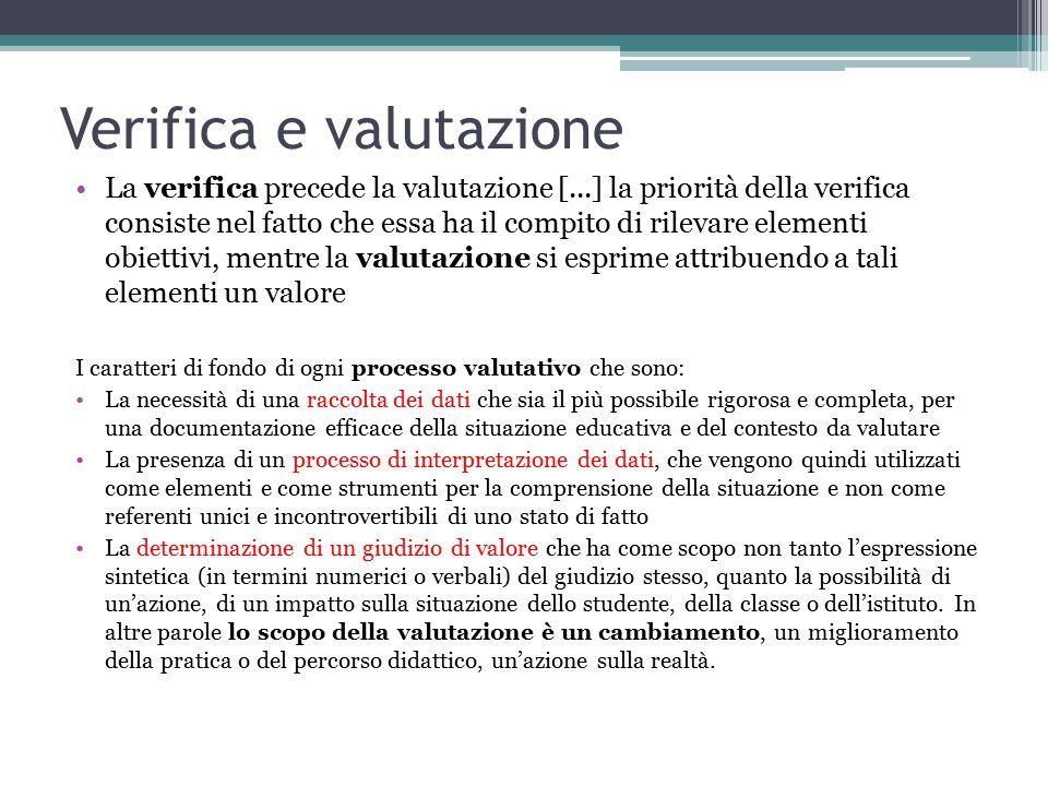 Verifica e valutazione La verifica precede la valutazione [...] la priorità della verifica consiste nel fatto che essa ha il compito di rilevare eleme