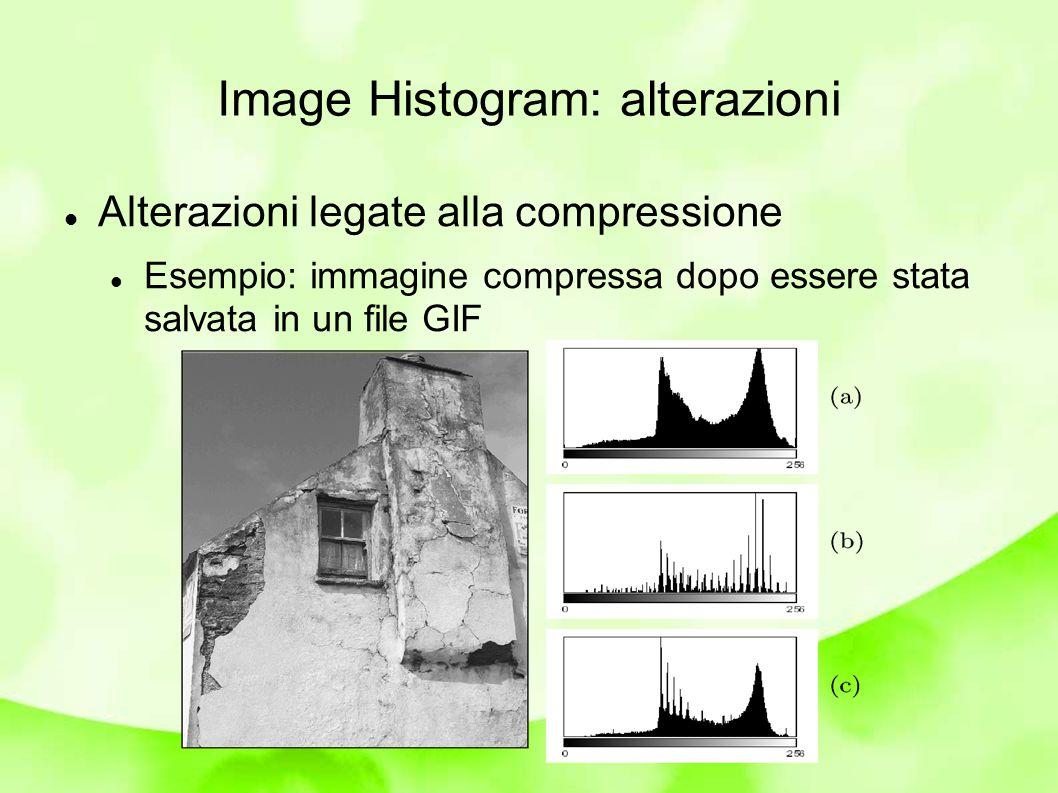 Image Histogram: alterazioni Alterazioni legate alla compressione Esempio: immagine compressa dopo essere stata salvata in un file GIF