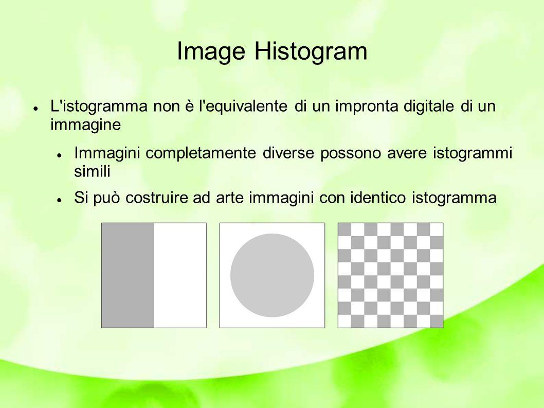 Image Histogram L istogramma non è l equivalente di un impronta digitale di un immagine Immagini completamente diverse possono avere istogrammi simili Si può costruire ad arte immagini con identico istogramma