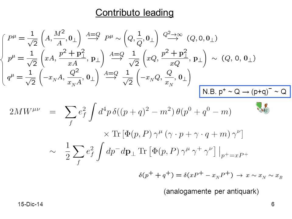 15-Dic-147 (continua) decomposizione della matrice di Dirac  (p,P,S) sulla base delle strutture di Dirac e dei 4-(pseudo)vettori p,P,S compatibilmente con Hermiticity e invarianza per parità base di Dirac time-reversal → 0 → q f (x) idem per antiquark