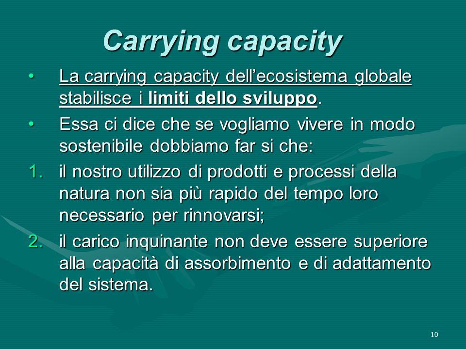 10 Carrying capacity La carrying capacity dell'ecosistema globale stabilisce i limiti dello sviluppo.La carrying capacity dell'ecosistema globale stabilisce i limiti dello sviluppo.