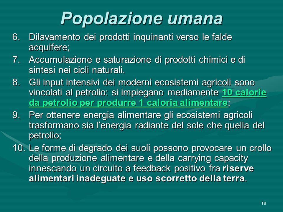 18 Popolazione umana 6.Dilavamento dei prodotti inquinanti verso le falde acquifere; 7.Accumulazione e saturazione di prodotti chimici e di sintesi nei cicli naturali.