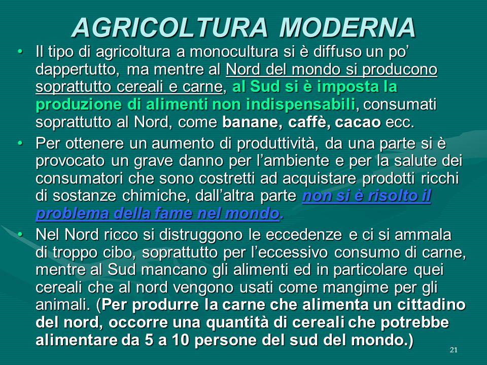 21 AGRICOLTURA MODERNA Il tipo di agricoltura a monocultura si è diffuso un po' dappertutto, ma mentre al Nord del mondo si producono soprattutto cereali e carne, al Sud si è imposta la produzione di alimenti non indispensabili, consumati soprattutto al Nord, come banane, caffè, cacao ecc.Il tipo di agricoltura a monocultura si è diffuso un po' dappertutto, ma mentre al Nord del mondo si producono soprattutto cereali e carne, al Sud si è imposta la produzione di alimenti non indispensabili, consumati soprattutto al Nord, come banane, caffè, cacao ecc.