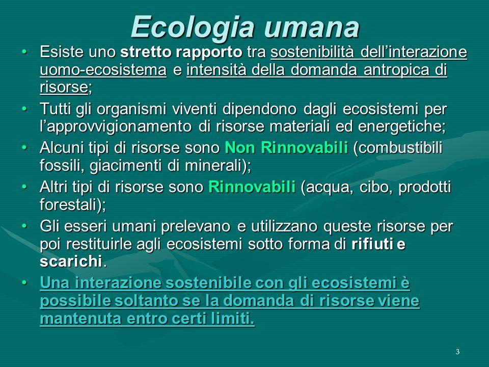 3 Ecologia umana Esiste uno stretto rapporto tra sostenibilità dell'interazione uomo-ecosistema e intensità della domanda antropica di risorse;Esiste uno stretto rapporto tra sostenibilità dell'interazione uomo-ecosistema e intensità della domanda antropica di risorse; Tutti gli organismi viventi dipendono dagli ecosistemi per l'approvvigionamento di risorse materiali ed energetiche;Tutti gli organismi viventi dipendono dagli ecosistemi per l'approvvigionamento di risorse materiali ed energetiche; Alcuni tipi di risorse sono Non Rinnovabili (combustibili fossili, giacimenti di minerali);Alcuni tipi di risorse sono Non Rinnovabili (combustibili fossili, giacimenti di minerali); Altri tipi di risorse sono Rinnovabili (acqua, cibo, prodotti forestali);Altri tipi di risorse sono Rinnovabili (acqua, cibo, prodotti forestali); Gli esseri umani prelevano e utilizzano queste risorse per poi restituirle agli ecosistemi sotto forma di rifiuti e scarichi.Gli esseri umani prelevano e utilizzano queste risorse per poi restituirle agli ecosistemi sotto forma di rifiuti e scarichi.