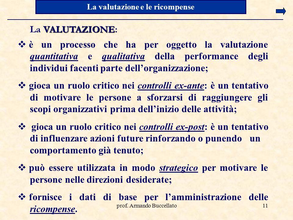 prof. Armando Buccellato11 La valutazione e le ricompense  è un processo che ha per oggetto la valutazione quantitativa e qualitativa della performan