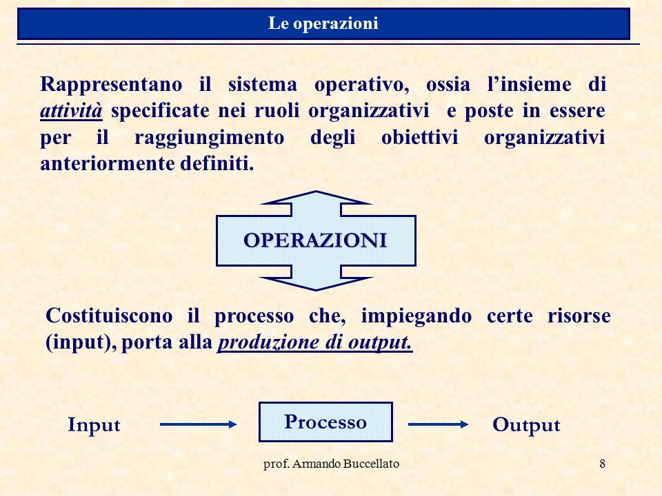 prof. Armando Buccellato8 Rappresentano il sistema operativo, ossia l'insieme di attività specificate nei ruoli organizzativi e poste in essere per il