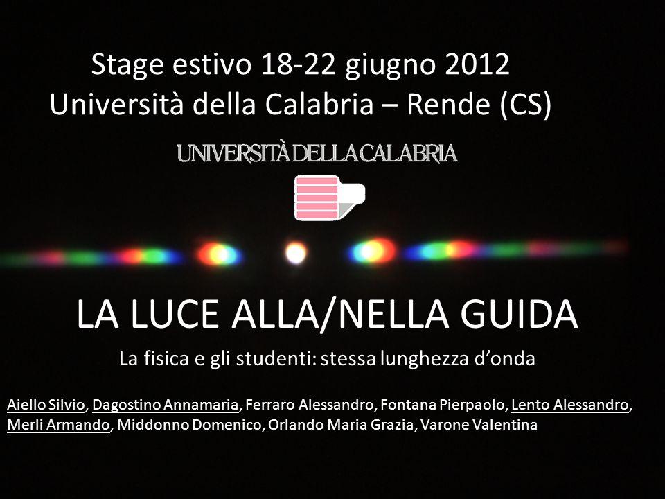 Stage estivo 18-22 giugno 2012 Università della Calabria – Rende (CS) LA LUCE ALLA/NELLA GUIDA La fisica e gli studenti: stessa lunghezza d'onda Aiell