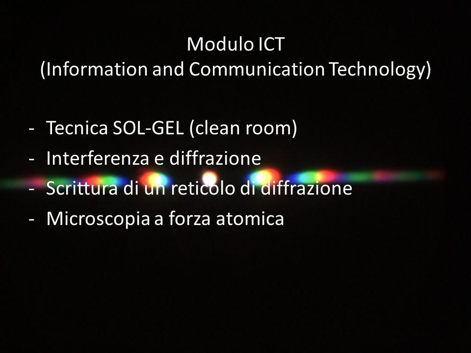 Modulo ICT (Information and Communication Technology) -Tecnica SOL-GEL (clean room) -Interferenza e diffrazione -Scrittura di un reticolo di diffrazione -Microscopia a forza atomica