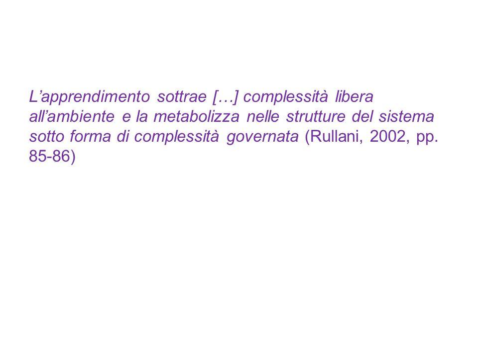 L'apprendimento sottrae […] complessità libera all'ambiente e la metabolizza nelle strutture del sistema sotto forma di complessità governata (Rullani, 2002, pp.