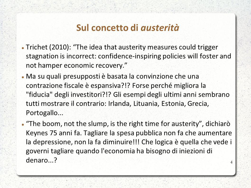 Sul concetto di austerità La logica è basata su una cattiva metafora e su un rivelazione delle vere intenzioni di chi propugna questa tesi La cattiva metafora: il debito di una nazione è come il debito di una famiglia.