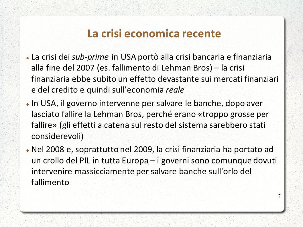 La crisi economica recente La crisi dei sub-prime in USA portò alla crisi bancaria e finanziaria alla fine del 2007 (es.