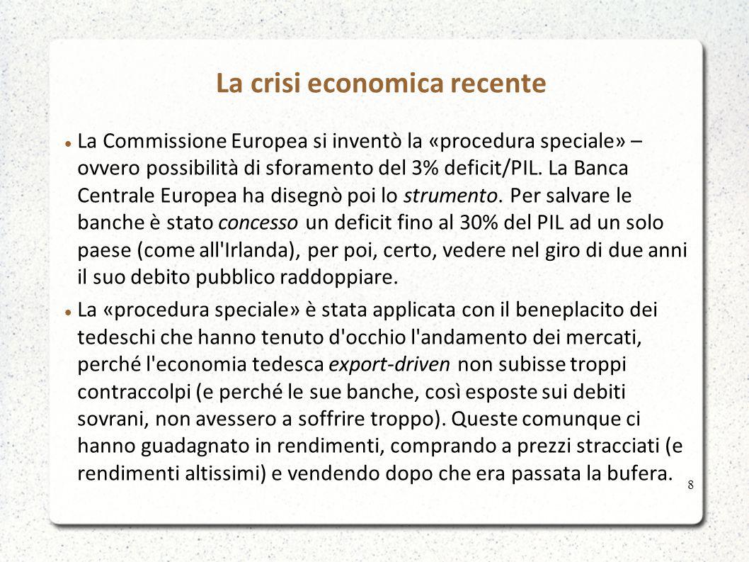 La crisi economica recente La Commissione Europea si inventò la «procedura speciale» – ovvero possibilità di sforamento del 3% deficit/PIL.