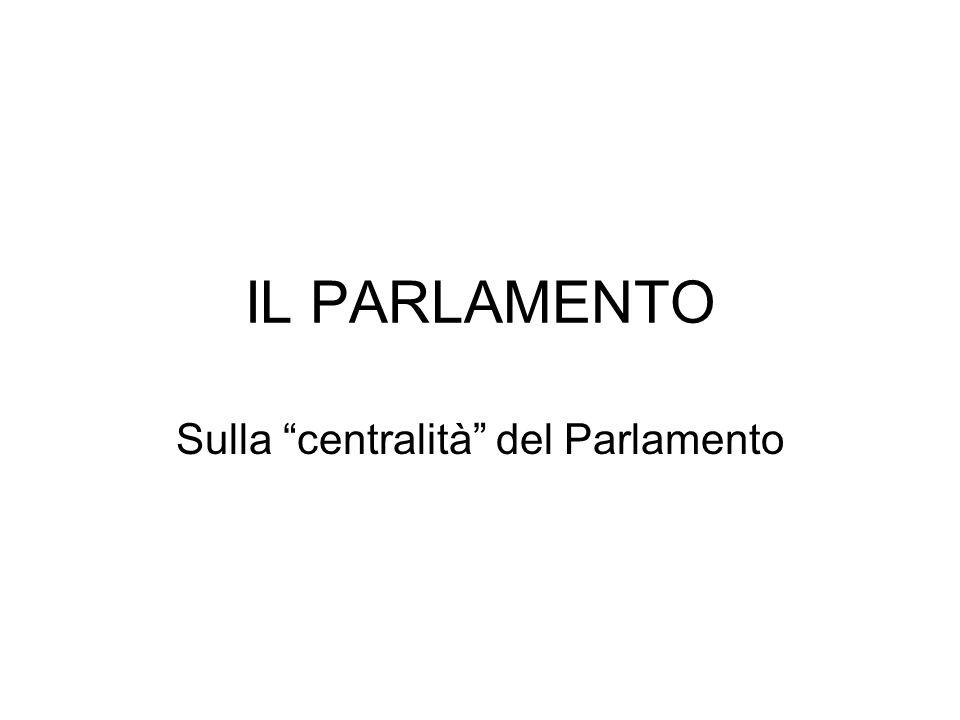 """IL PARLAMENTO Sulla """"centralità"""" del Parlamento"""