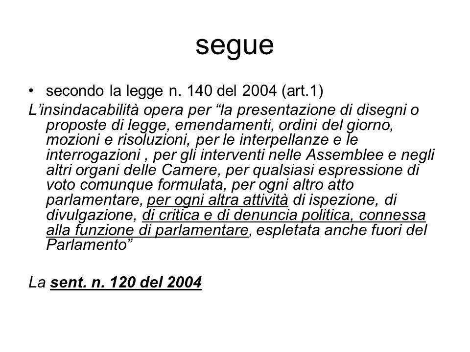 """segue secondo la legge n. 140 del 2004 (art.1) L'insindacabilità opera per """"la presentazione di disegni o proposte di legge, emendamenti, ordini del g"""